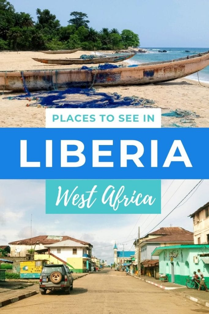 Pictures of beaches and streets in Liberia with text: Places to see in Liberia