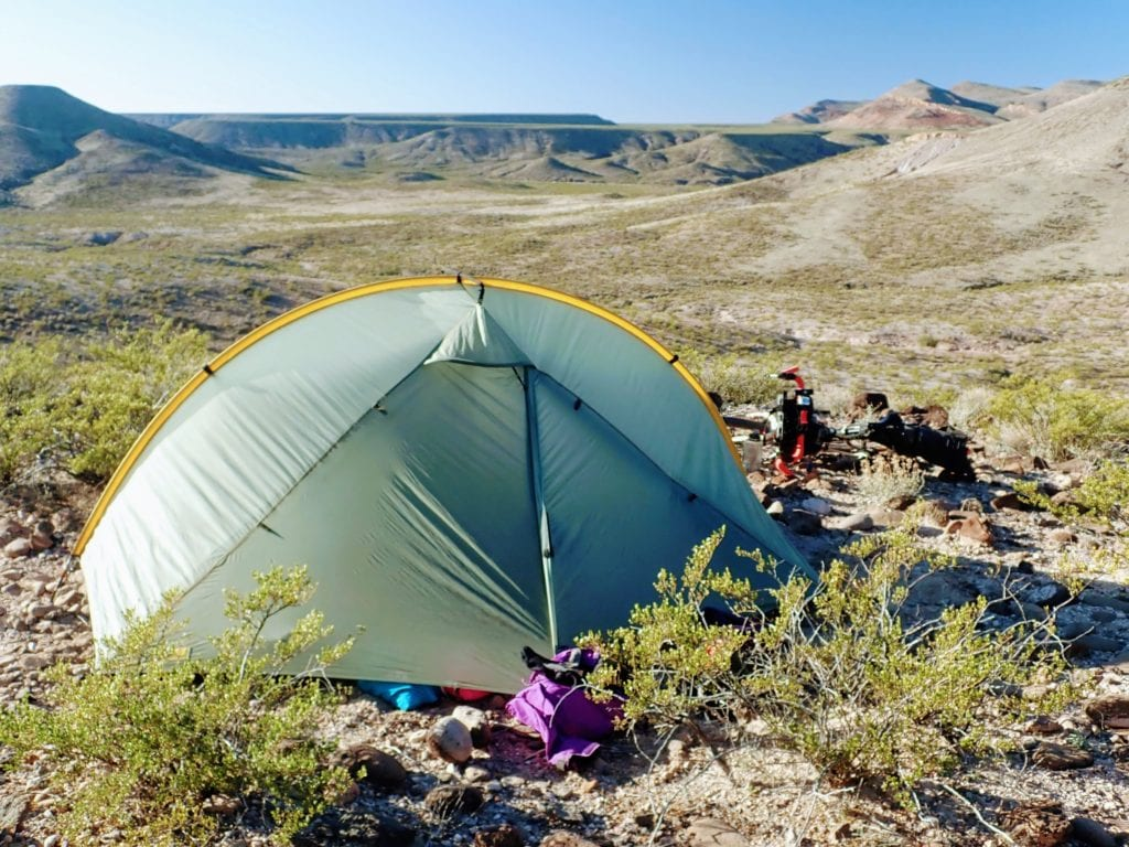 Bikepacking tent in New Mexico