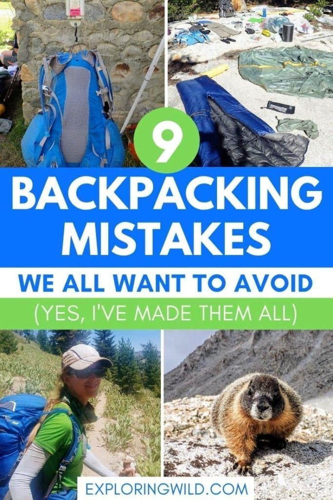 Pictures of trail and marmot, with text: 9 backpacking mistakes we all want to avoid