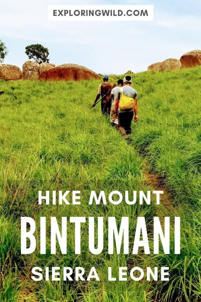 Picture of hikers on grassy trail with text: Hike Mount Bintumani Sierra Leone