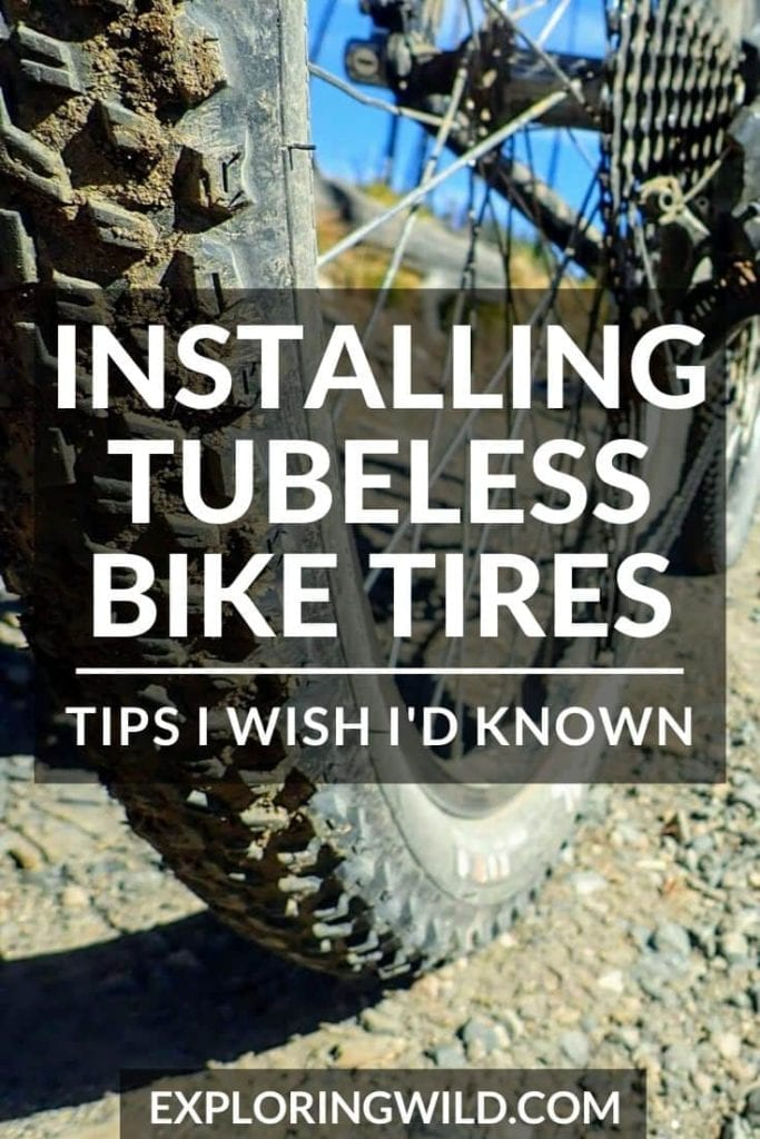 Picture of mountain bike tire on dirt road with text: installing tubeless bike tires