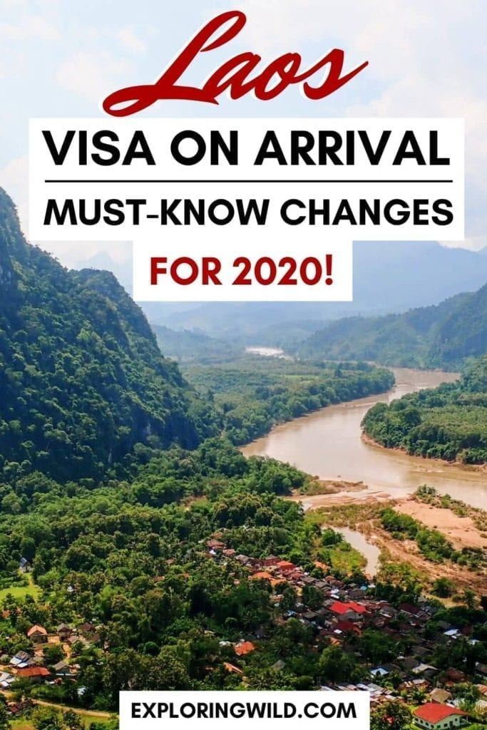 Scenic Laos village with text overlay: Laos Visa on Arrival: must-know changes in 2020