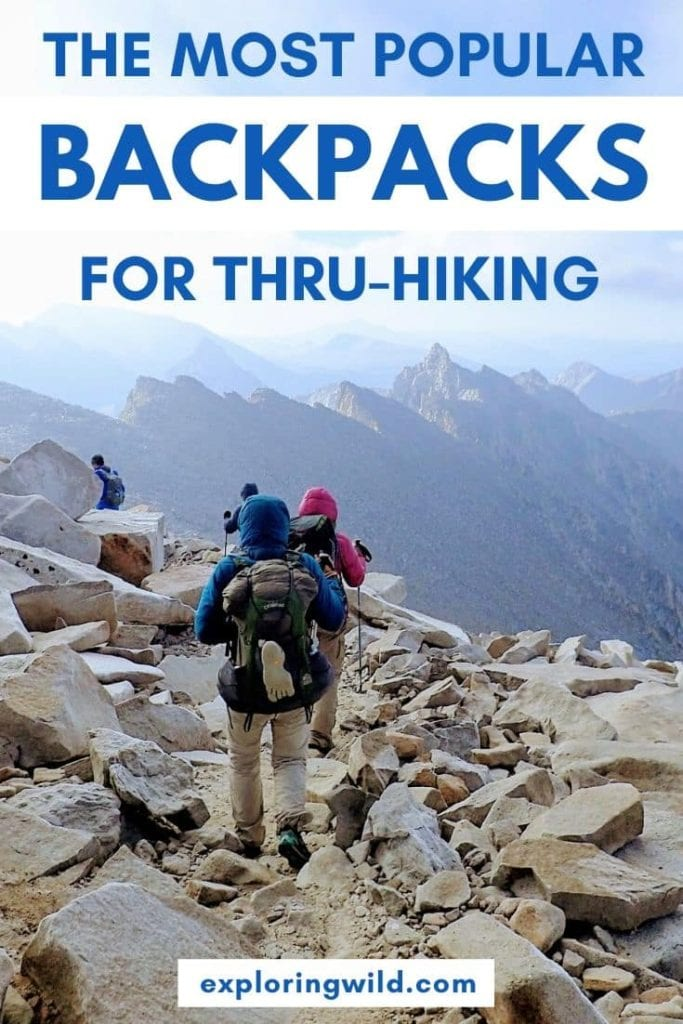 Picture of hikers on John Muir Trail with text: the most popular backpacks for thru-hiking