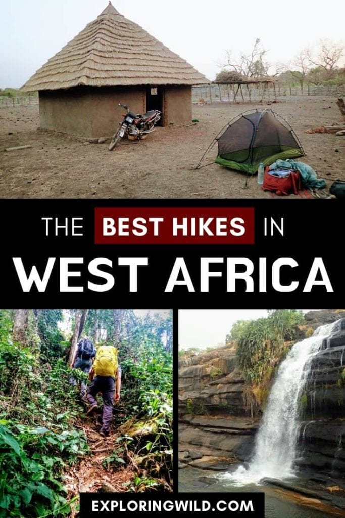Pictures of hiking trails with text: the best hikes in West Africa