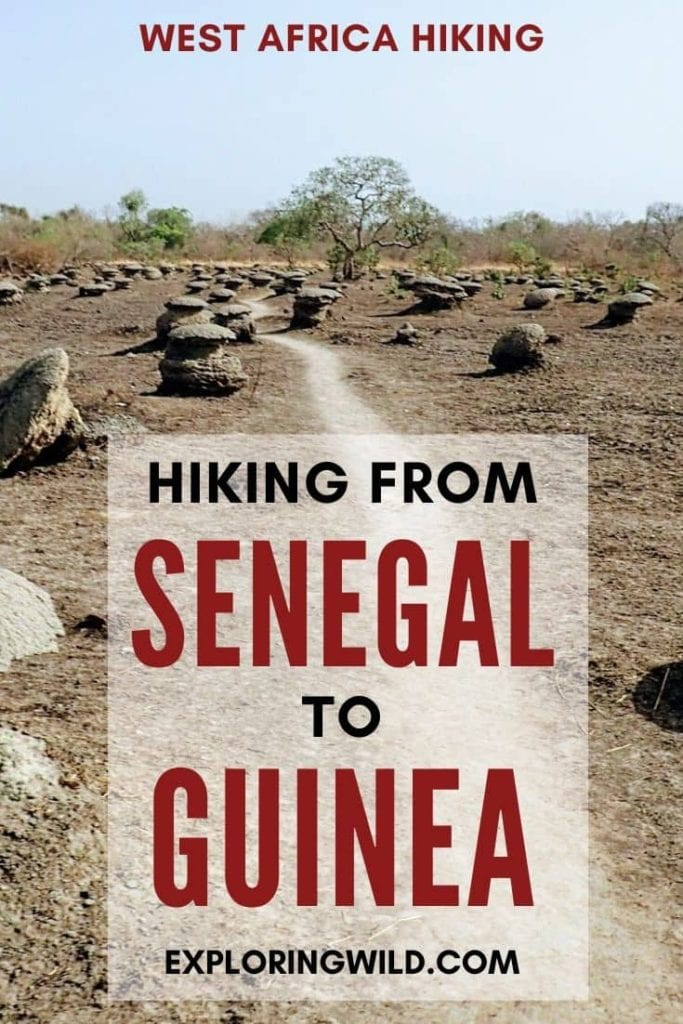 Picture of dry grass trail with text: Hiking from Senegal to Guinea