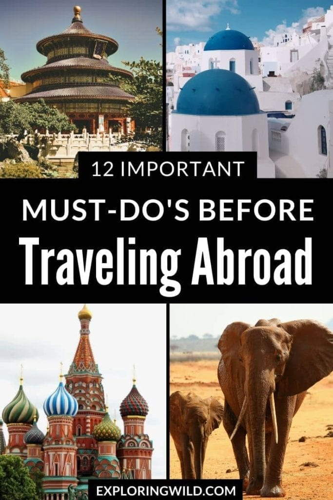 Pictures of travel destinations with text: international travel essential prep checklist