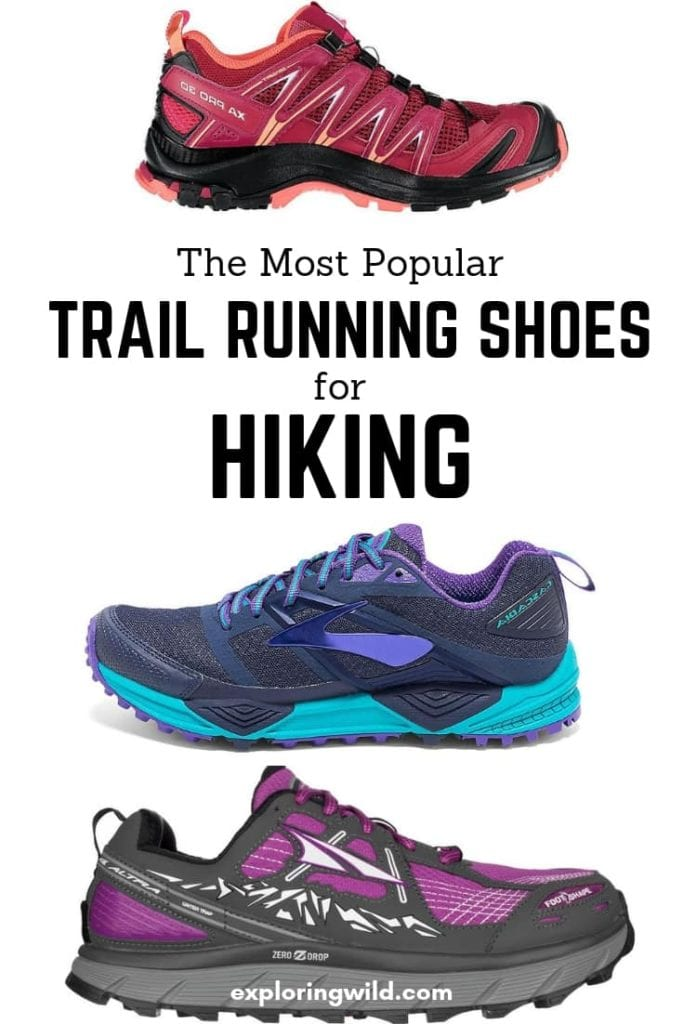 Colorful pictures of new trail running shoes with text overlay: the most popular trail running shoes for hiking