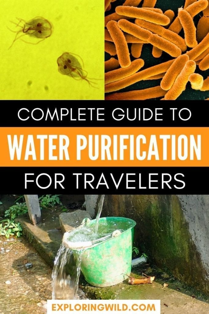 Picture of bucket and microscopic images of bacteria with text: complete guide to water purification for travelers