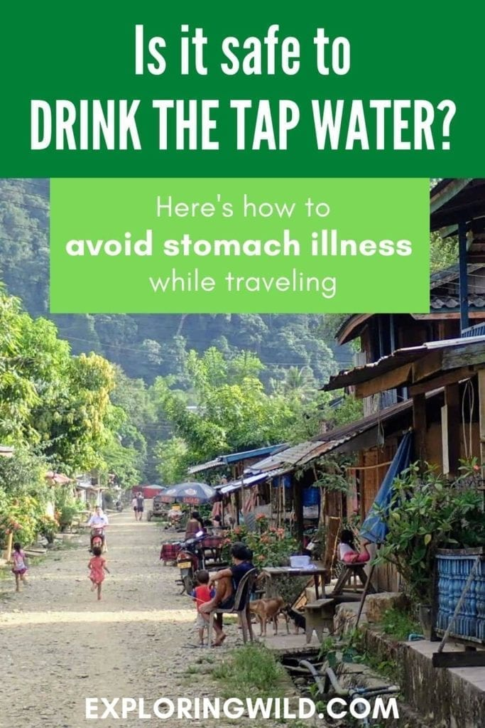Picture of rural Laos village with text: is it safe to drink the tap water?