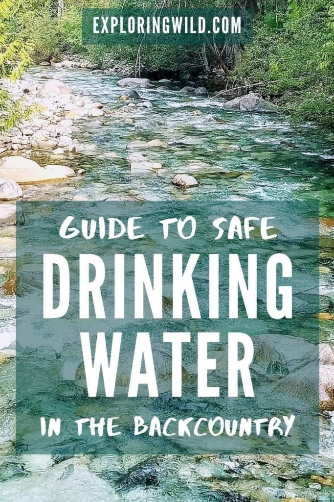 Picture of stream with text: Guide to safe drinking water in the backcountry