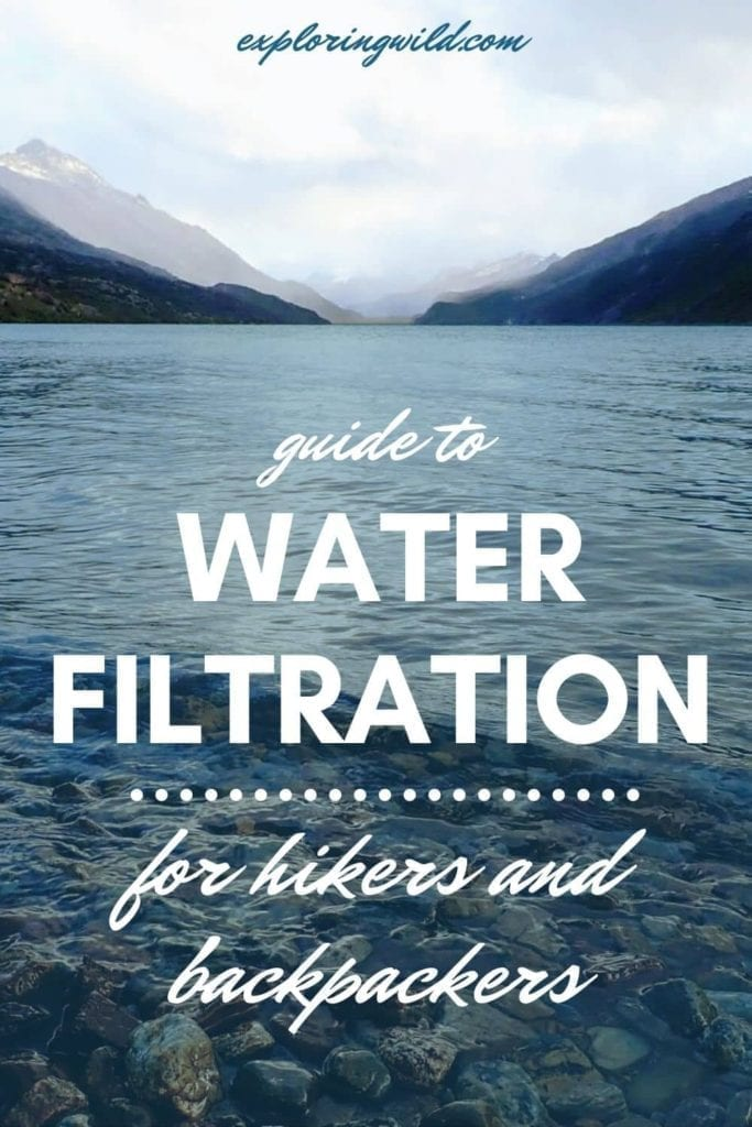 Picture of mountain lake with text: Guide to water filtration for hikers and backpackers