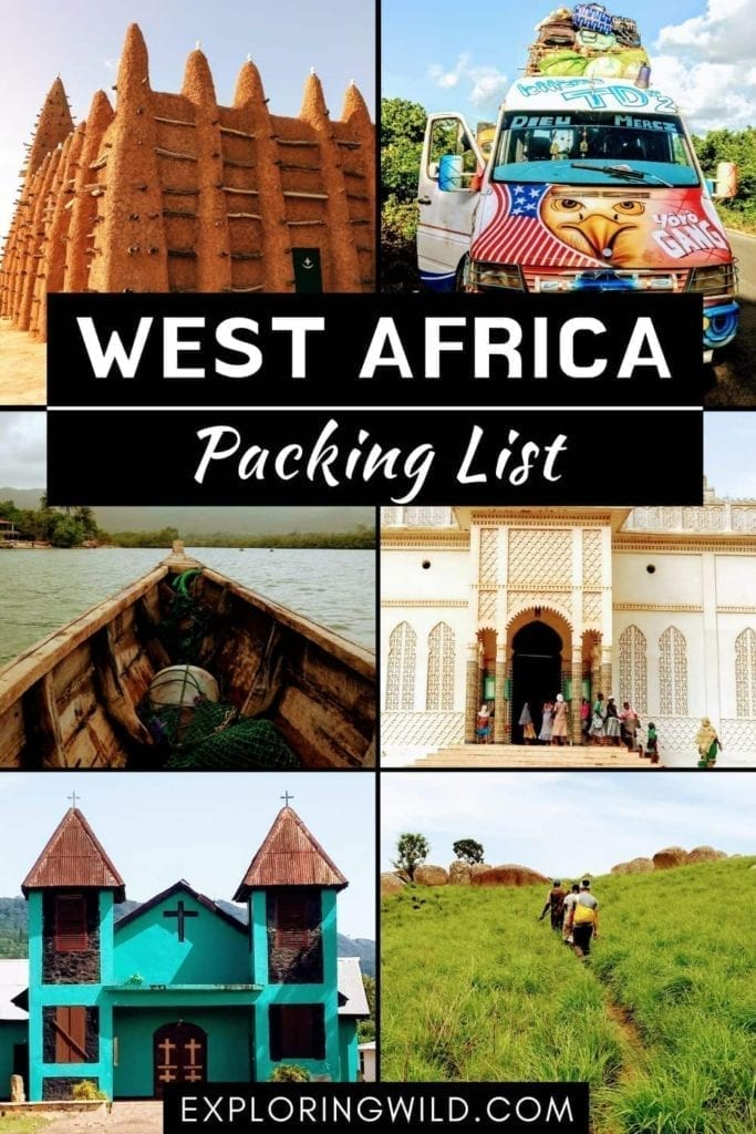 Picture collage with text: West Africa Packing List