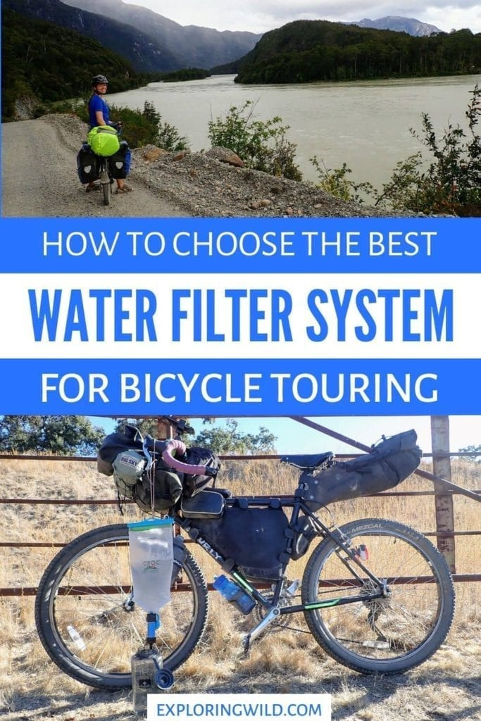 Pictures of bicycle touring setup with text: how to choose the best water filtration system for bicycle touring