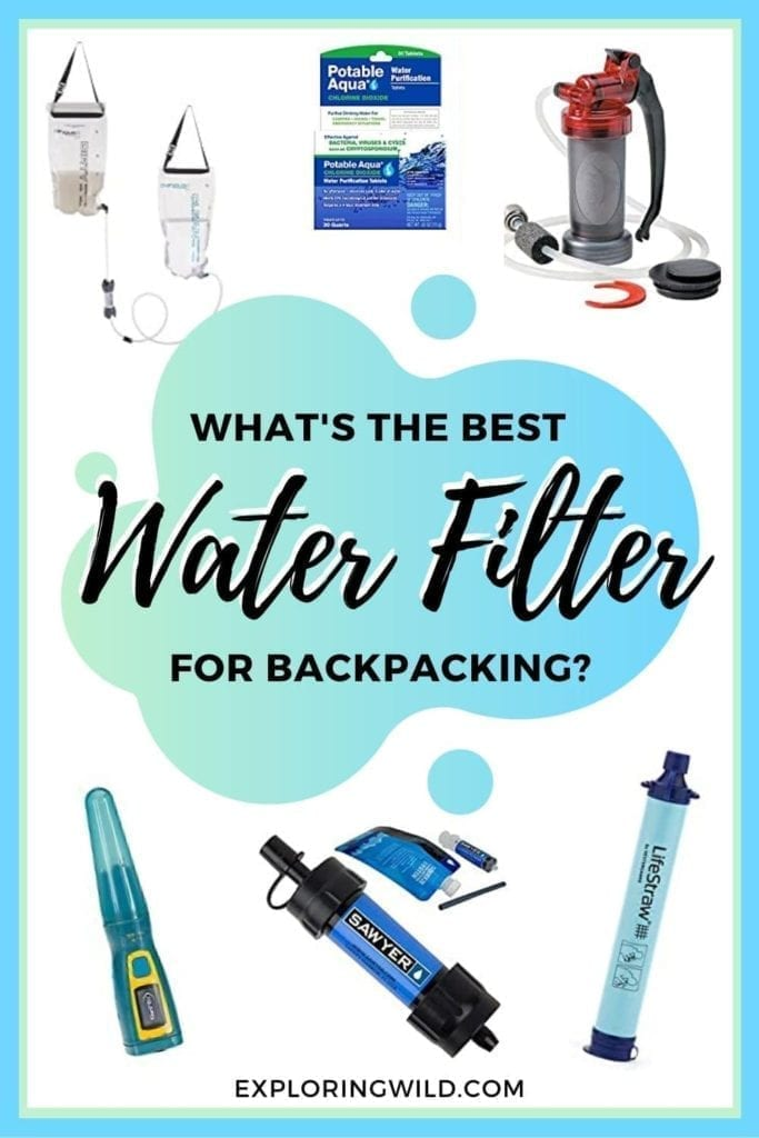 Pictures of water filters and water treatment methods, with text: What's the best water filter for backpacking?