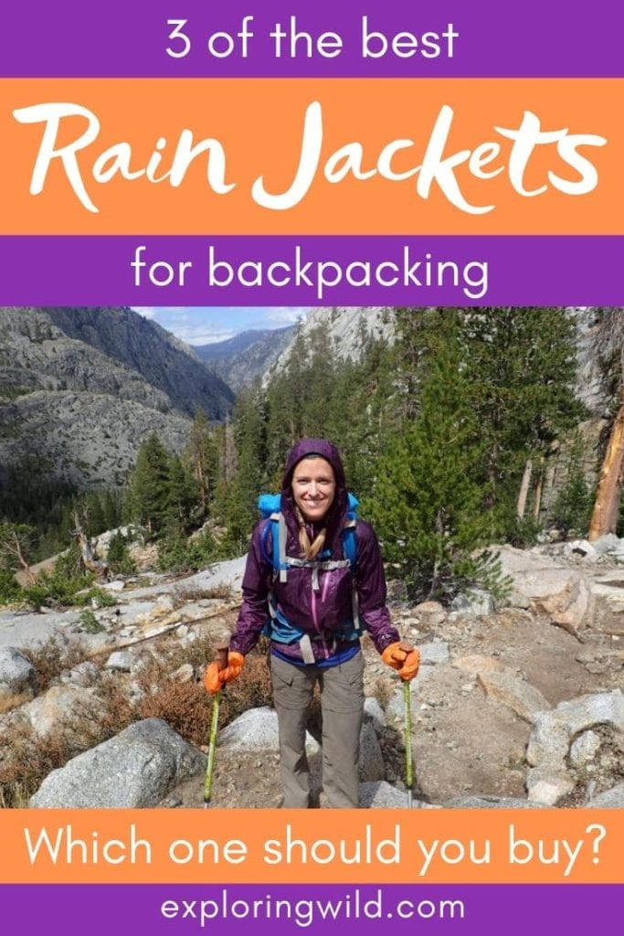 Picture of woman backpacker and text: 3 of the best rain jackets for backpacking