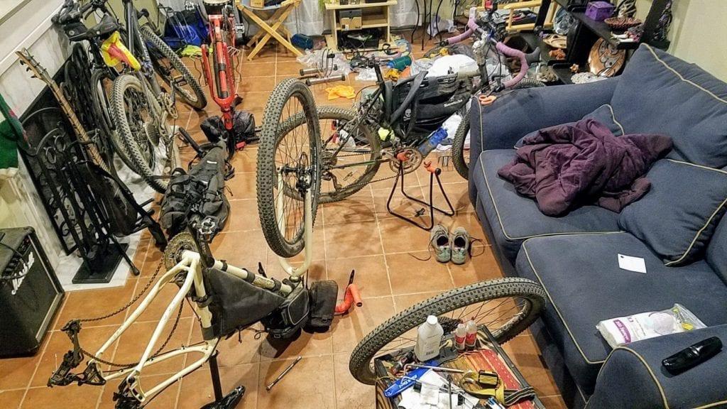 Bike repair in living room