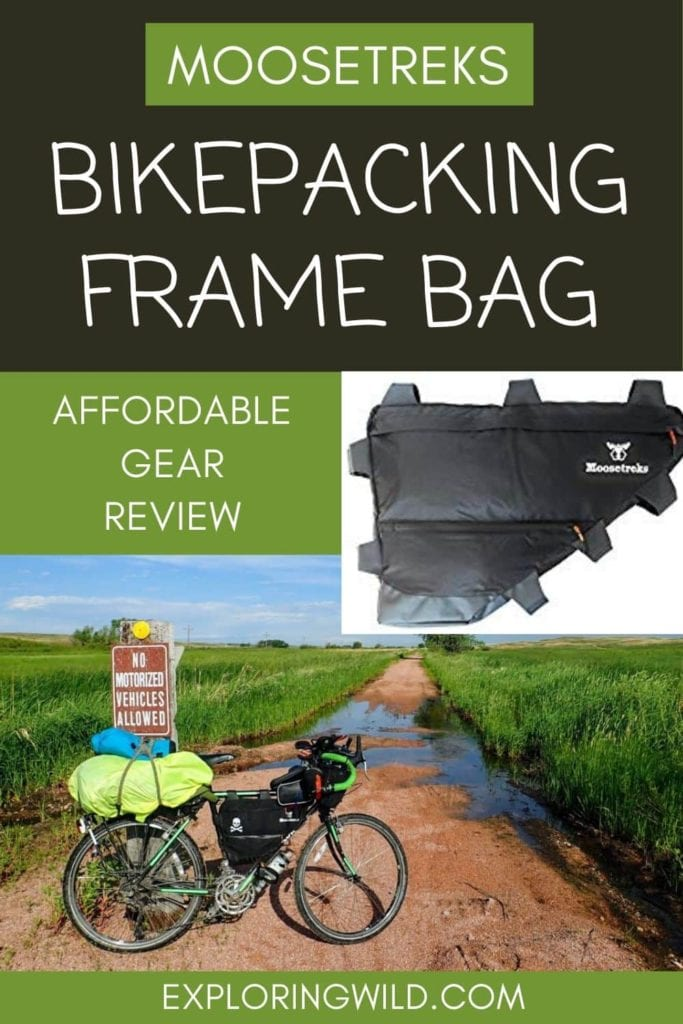 Picture of bikepacking rig with text overlay: Moosetreks Bikepacking Frame Bag: Affordable Gear Review