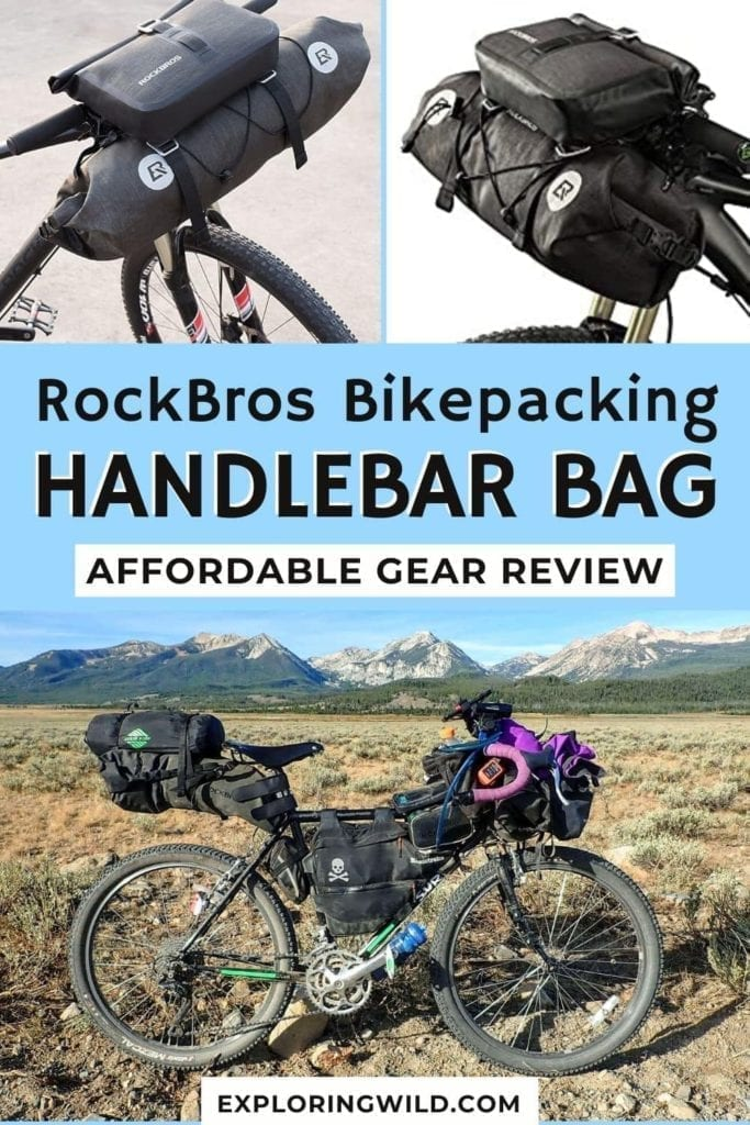 Pictures of bike and handlebar bag with text: RockBros Bikepacking Handlebar Bag Gear Review