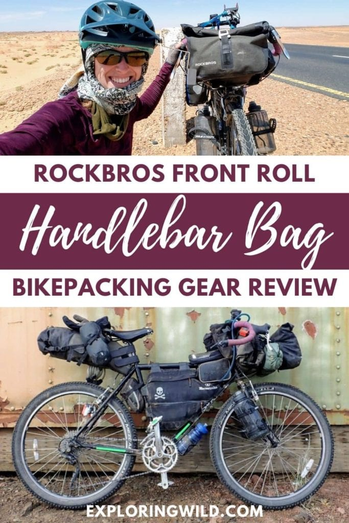 Picture of bikepacker and bike, with text: RockBros Front Roll Handlebar Bag Bikepacking Gear Review