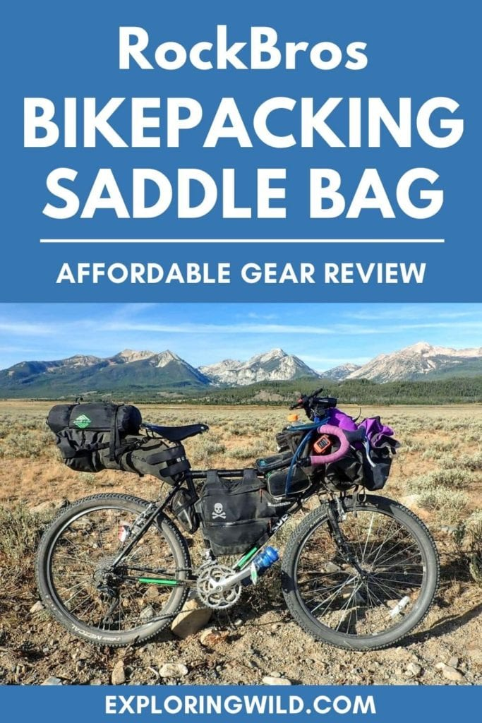 Picture of bikepacking rig with mountains in background and text overlay: RockBros Bikepacking Saddle Bag: Affordable Gear Review