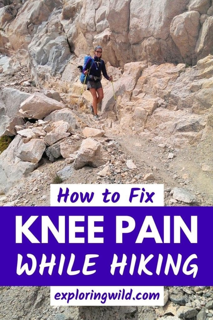 Woman hiking on rocky trail with text: How to fix knee pain while hiking