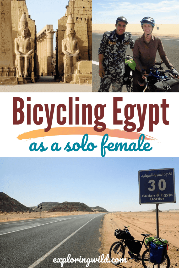 Pictures of woman and bicycle in Egypt with text: Bicycling Egypt as a solo female