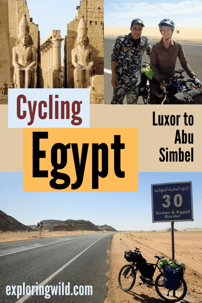 Pictures of woman and bicycle in Egypt with text: Cycling Egypt - Luxor to Abu Simbel