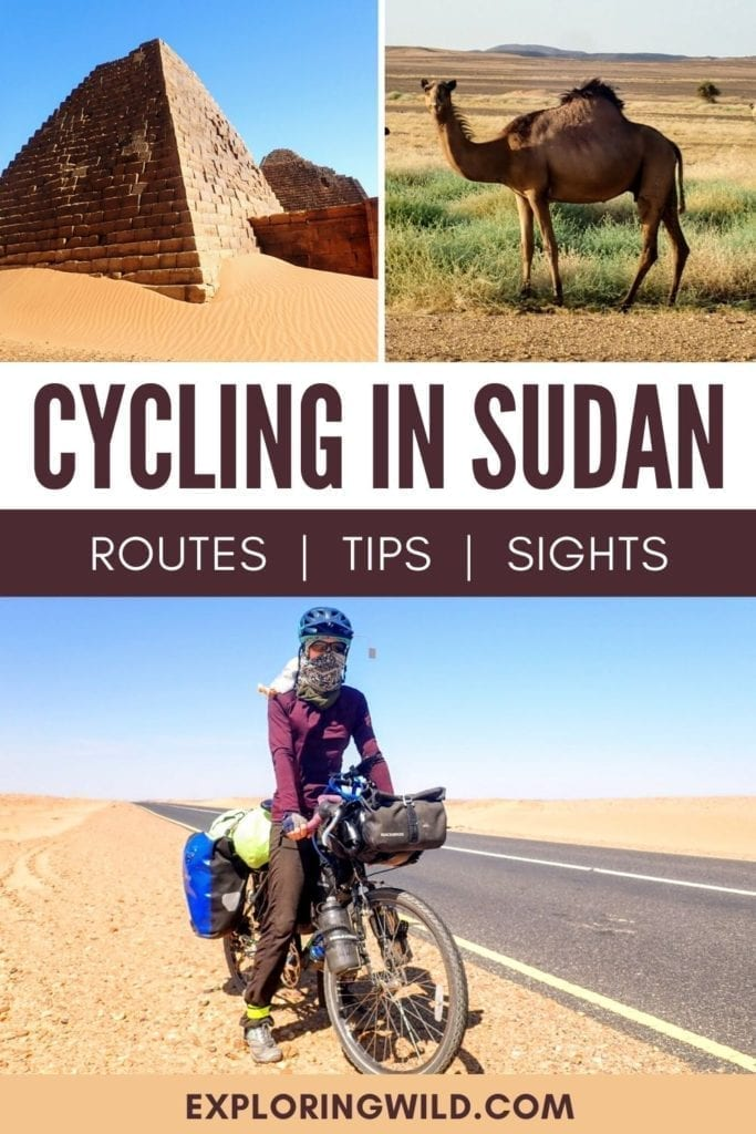 Picture of woman on touring bicycle in Sudan, with text: Cycling in Sudan
