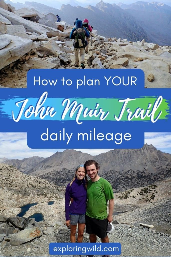 Pictures of hikers on the JMT with text: how to plan your John Muir Trail daily mileage