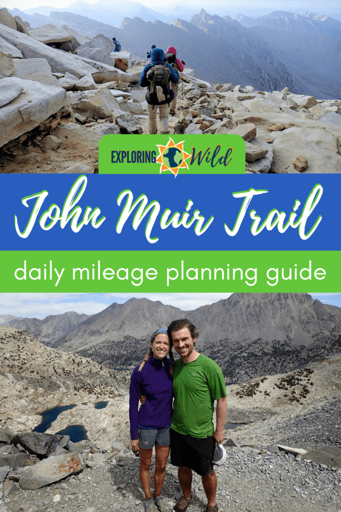 Pictures of hikers on the JMT with text: John Muir Trail daily mileage planning guide