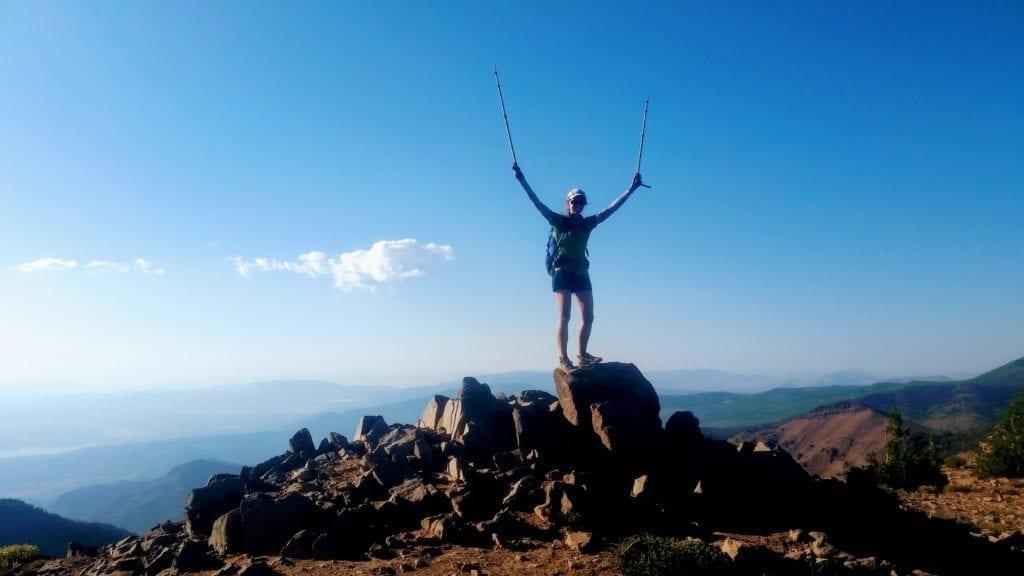 Backpacker on Relay Peak summit