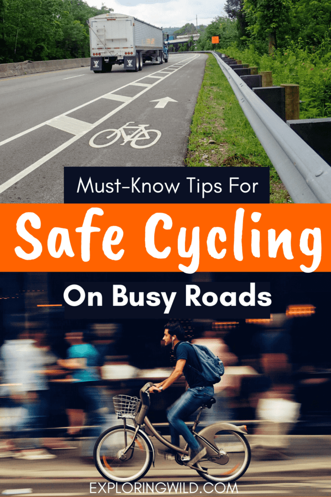 Picture of bike lane and man riding bike, with text: Tips for Cycling Safely on Busy Roads