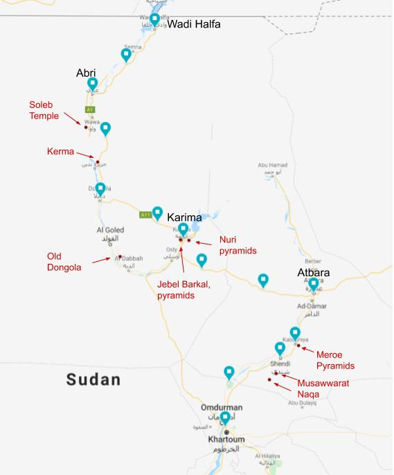 Map showing cycling route through Sudan