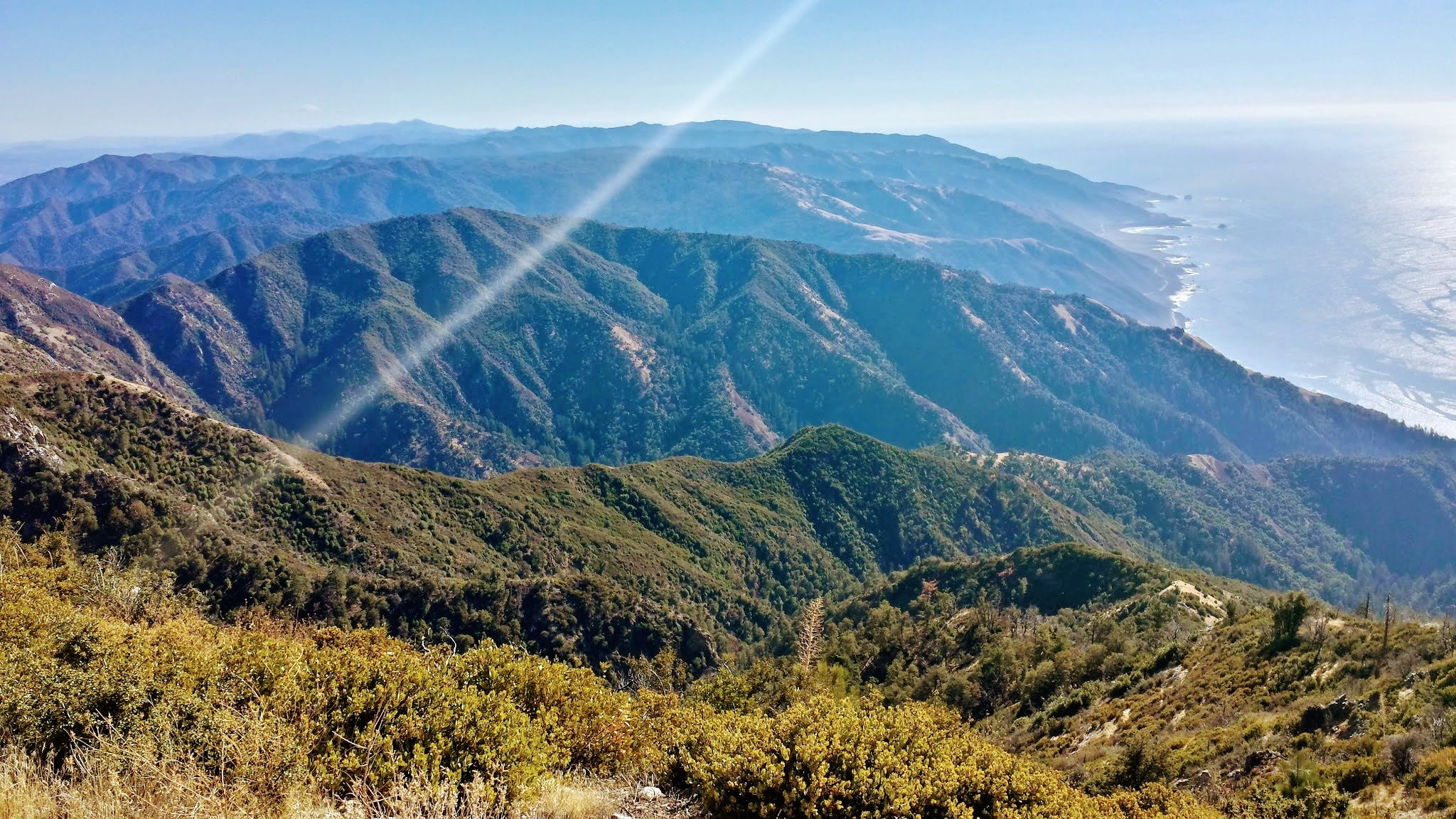 View of coastal mountains from Cone Peak in Big Sur