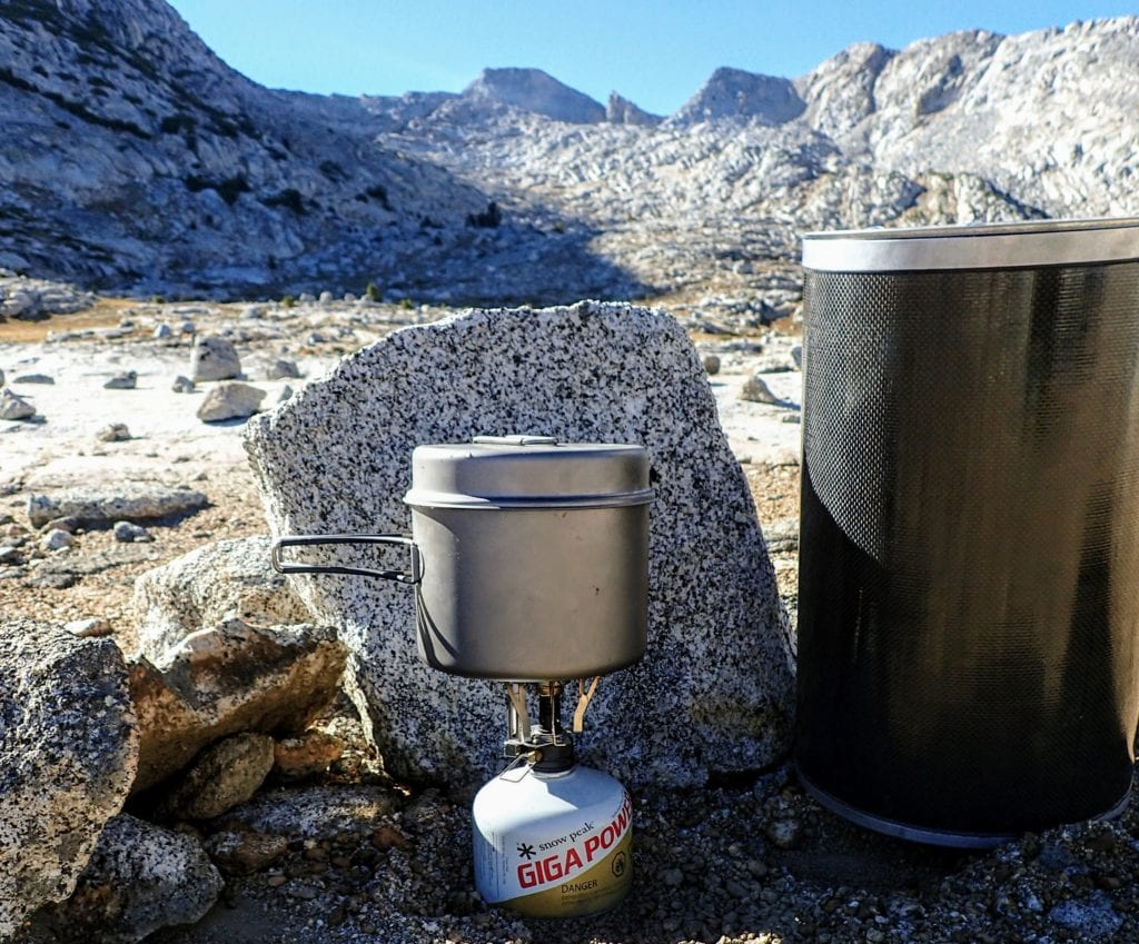 Bear canister and camp stove on John Muir Trail