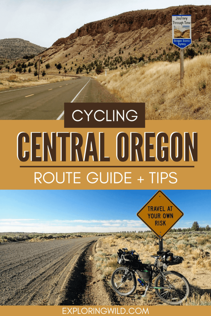 Pictures of Oregon roads with text: Cycling Central Oregon