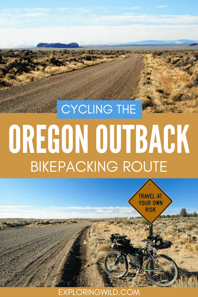 Pictures of gravel roads with text: Cycling the Oregon Outback bikepacking route