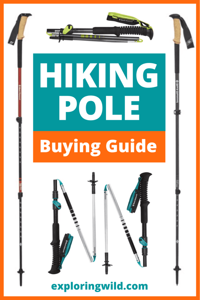 Pictures of trekking poles with text: Hiking Pole Buying Guide