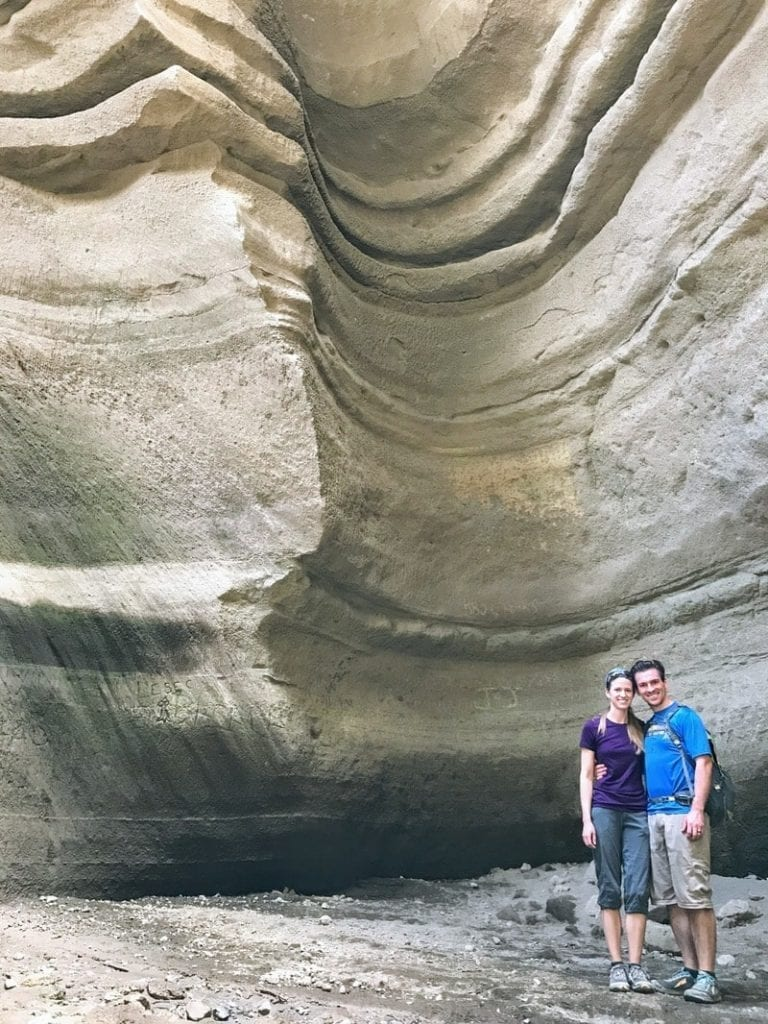 Couple poses in deep gorge
