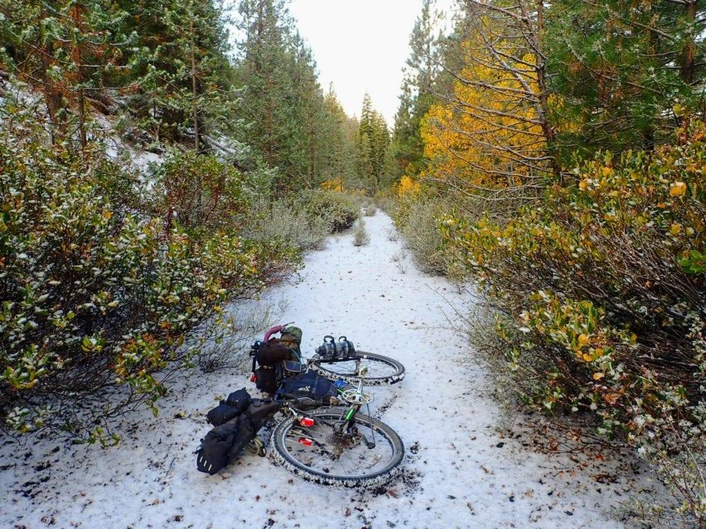 Bikepacking in light snow