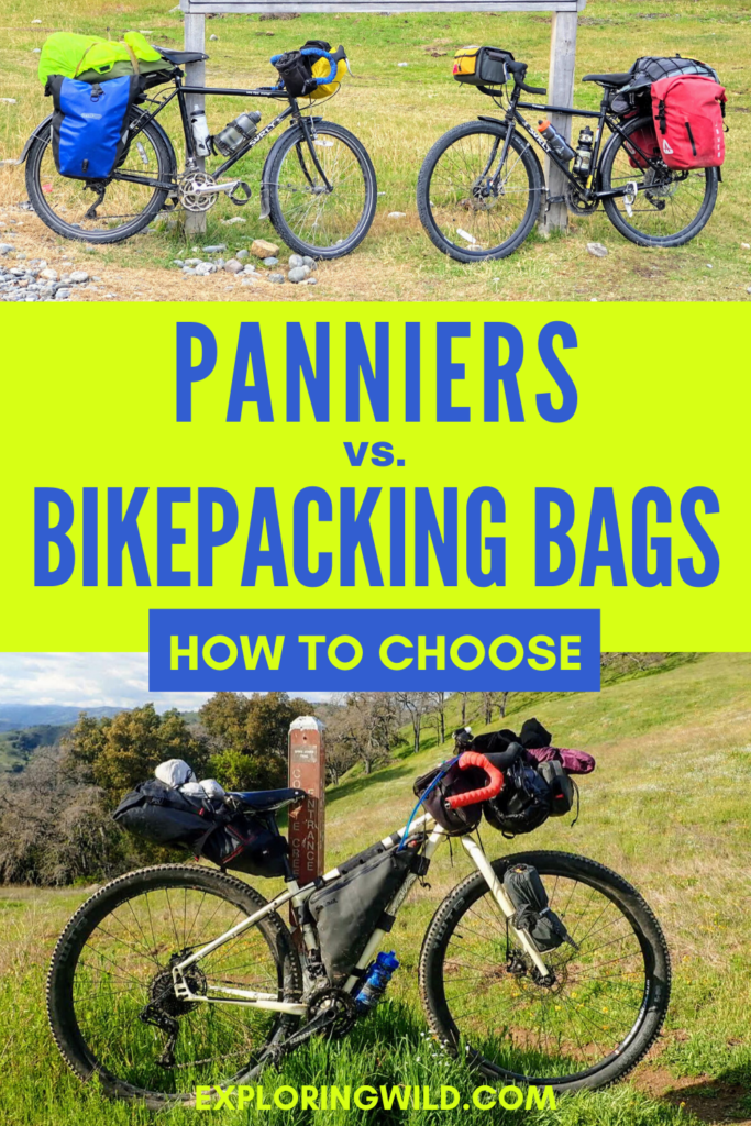 Pictures of bikes with different types of luggage setups, with text: Panniers vs. Bikepacking Bags, how to choose?