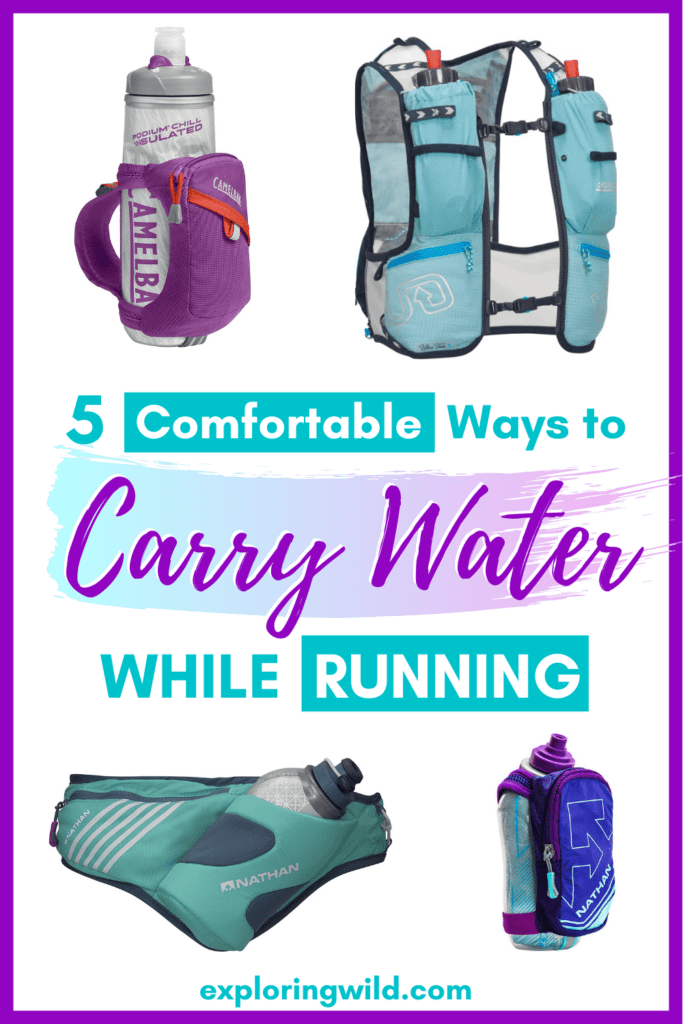 pictures of running hydration gear for women with text: ways to carry water while running
