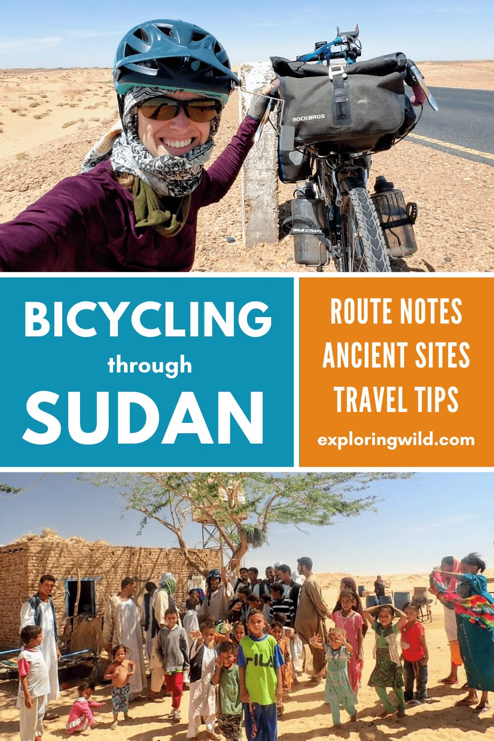 Picture of women cycling in Sudan and Sudanese family, with text: Bicycling Through Sudan
