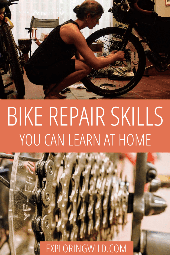 Picture of woman repairing bicycle and picture of bicycle cassette, with text: bike repair and maintenance you can learn at home