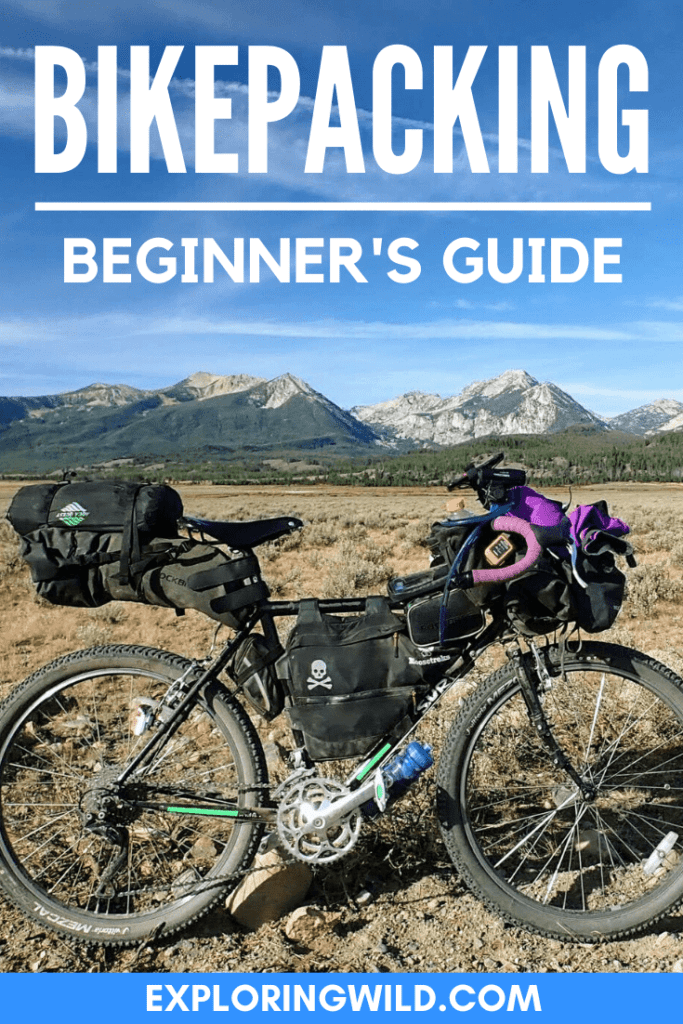 Picture of loaded bike in mountains with text: Bikepacking beginner's guide