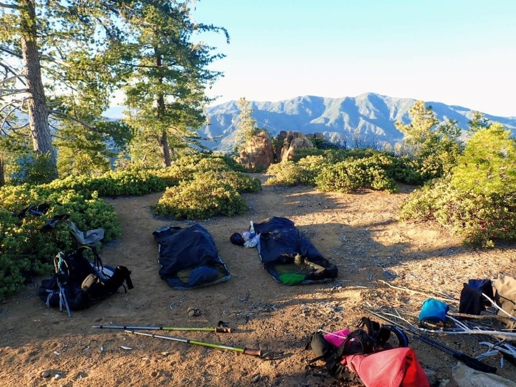 Two bivy sacks at campsite in Ventana Wilderness