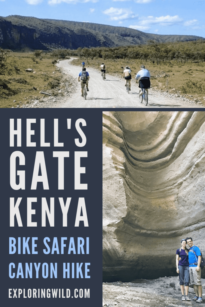 Pictures of bicyclists on dirt road and hikers in gorge with text: Hell's Gate National Park Kenya