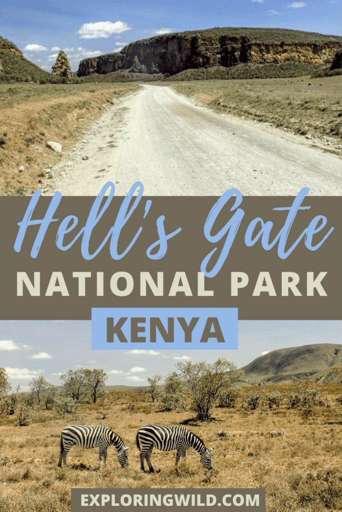Pictures of dirt road and zebras, with text: Hell's Gate National Park, Kenya