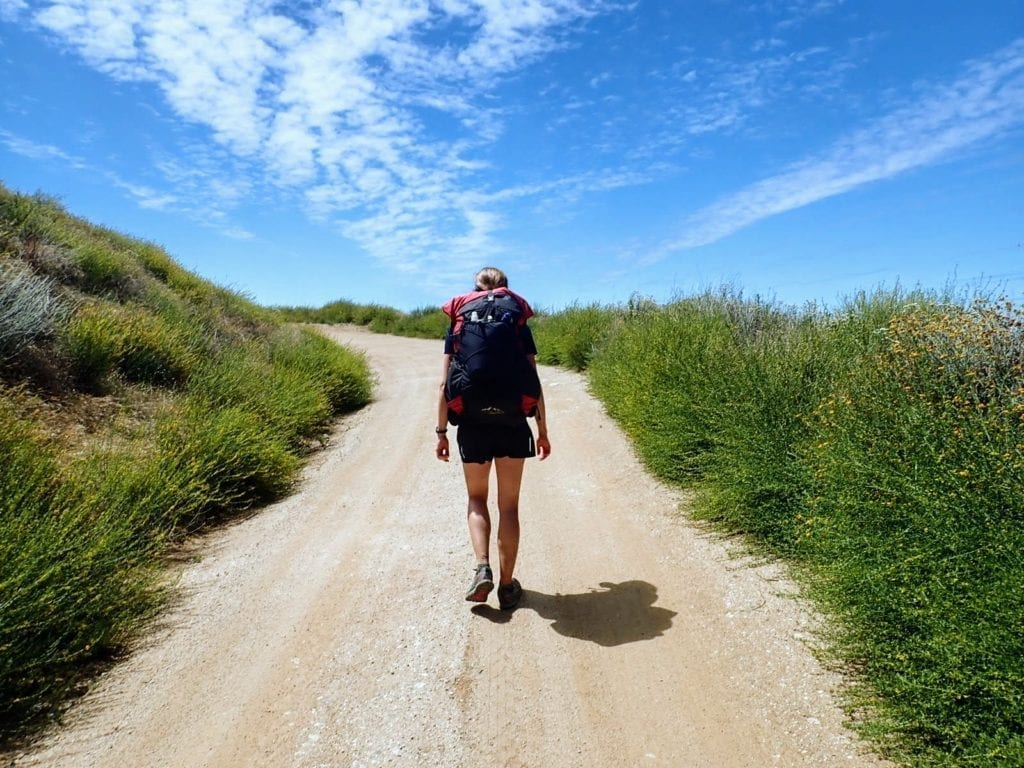 Woman hikes up dirt road surrounded by green plants and blue sky