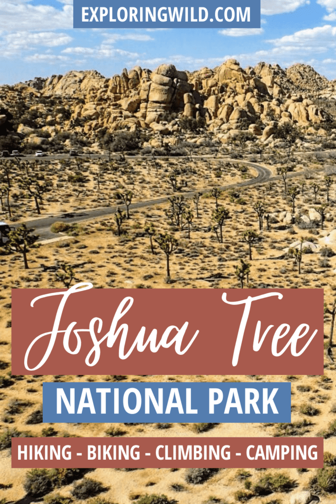 Picture of desert with text: Joshua Tree National Park - hiking, biking, climbing, camping